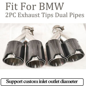 2 Carbon Fiber Exhaust Tips Dual Pipes M End Fit For Bmw In63mm Outlet93mm Black