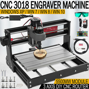 Cnc 3018 Pro Machine Router 3 Axis Engraving Pcb Wood Diy Mill 5500mw Laser Head