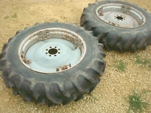1955 Ford 960 Tractor Power Adjust Spin Out Rims Tires 12 4 28 800 900