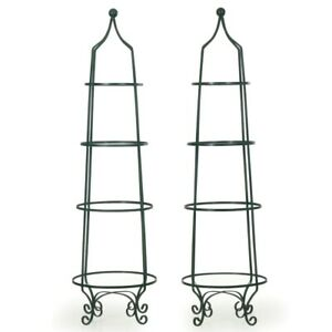 Pair Of Vintage Green Painted Iron Etageres Displays With Glass Shelves 20th C