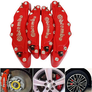 4pcs Car Brake Caliper Covers Disc Front Rear Kit 3d Style Fit For Mercedes Benz
