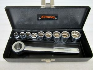 Vintage Jc Penney 3 8 Drive Sae Socket Set 10pc S K Tools 3531 Made In Usa