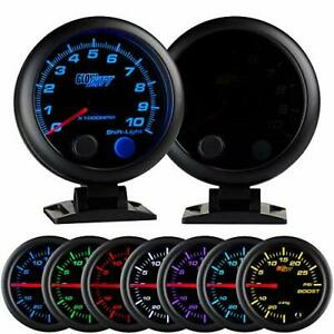 Glowshift Tinted 7 Color 10000 Rpm Tachometer Gauge For 1 10 Cylinder Gas