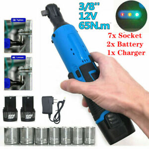 7 Socket 3 8 Cordless Electric Ratchet Right Angle Wrench Impact Power Tool