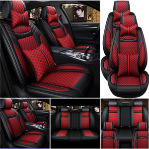 Car Full Set Pu Leather Seat Covers Universal 5 Sits Protector Cushion Interior