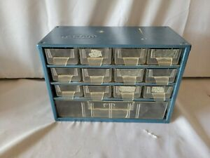 Vintage Metal Storage Drawers Small Parts Organizer Cabinet Raaco Corp 12 8 6