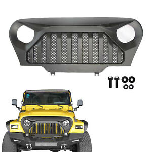 New Matte Black Front Gladiator Grill Grille W Mesh For 97 06 Jeep Wrangler Tj