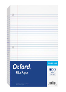 Oxford Filler Paper 8 1 2 X 11 College Rule 3 hole Punched Loose leaf Pape