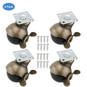 4 Pack 2 Ball Caster Wheels With Brake For Furniture Cabinet Wheelchair Legs