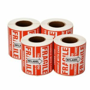 2000 Fragile Stickers 2x3 Handle With Care Thank You Warning Label 500 Roll