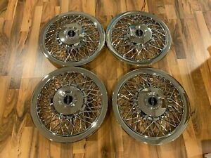 New Set Of 1970 1996 Fits Lincoln Town Car Wire Spoke 15 Hubcaps Wheelcovers