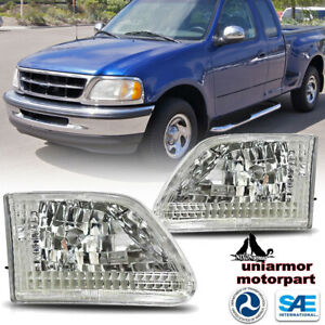 Headlights For 1997 2003 Ford F 150 2004 Heritage Chrome Clear Headlamps Pair