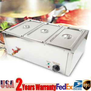 3 Cells Commercial Food Warmer Bain Marie Steam Table Countertop 110v 850w