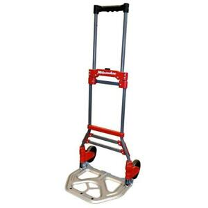 Milwaukee Hand Truck 2 wheel 150 Lb Capacity Collapsible Load Strap Steel
