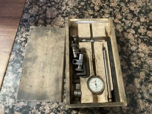 Starrett Dial Indicator 1 1000 Plunger Type Wooden Box Attachments Usa