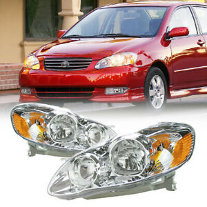 For 2003 2008 Toyota Corolla Ce Le Black Headlights Lamps Pair Left Right Fits 2004 Corolla