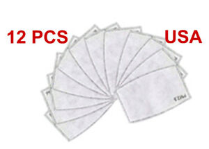 12 Pack Adult Pm2 5 5 Layer Carbon Face Super Fresh Air Mask Filter Replacements