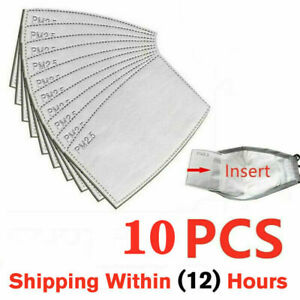 10 Pack Adult Pm2 5 5 Layer Carbon Face Super Fresh Air Mask Filter Replacements