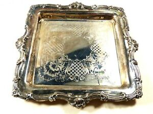 Vtg Newport By Gorham Silverplate Square Serving Tray Plate 10 5 X 10 5