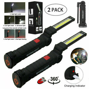 2pc Ultra Bright Work Light Portable Torch Lamp Folding 900000lmusb Cable Us