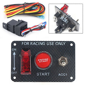 Racing Car 12v Ignition Switch Engine Start Push Button Red Led Toggle Panel