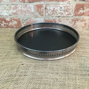 Mid Century Black Formica 10 Round Serving Tray Sheffield Silver Plate Rim