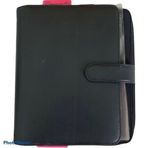 Franklin Covey Black Leather Organizer 7 1 Rings 9 X7 Closed W Zipper Pouch