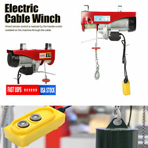 Electric Hoist Cable Wired Remote Control Winch Overhead Crane 880lbs 1800w 110v