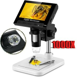 4 3 1000x Electronic Digital Lcd Video Microscope Adjustable 8 Led Magnifier Us