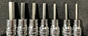 Snap On 1 8 5 16 7 Pc 3 8 Drive Usa Hex Allen Socket Set Very Good Cond