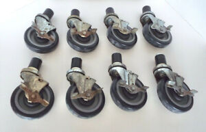 Commercial Caster Collection 5 Wheels Swivel Brakes Nsf Bkr 8 Piece Lot