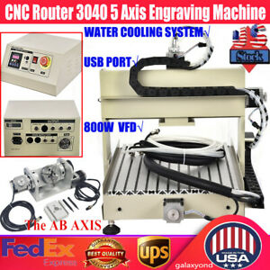 800w 5 Axis Cnc 3040 Router Engraver Drilling Milling Wood Machine Cutter Usa