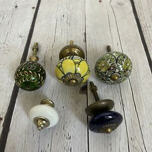 Mixed Lot 5 Vintage Colorful Ceramic Glass Drawer Knobs W Screws Floral Green