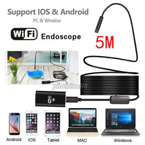 Wifi 5m Wireless Endoscope Inspection Camera Ip67 For Iphone Android Black Us