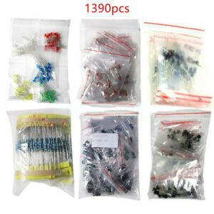 Led Electronic Components Diode Transistor Capacitor Resistance Kit Lot 1390pcs
