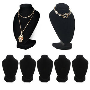 5 Pack Black Velvet Necklace Bust Display Stands Shop Chain Jewelry Holder