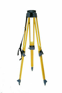 Heavy Duty Wooden Tripod Stand Dual Lock Survey Instrument Total Station Level