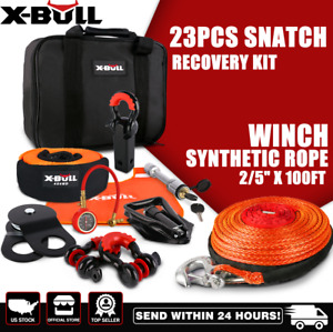 X Bull Winch Recovery Accessory Snatch Kit 100ft Synthetic Rope Wiith Hook 4wd