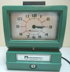 Acroprint 125nr4 Time Recorder Green Punch Clock System