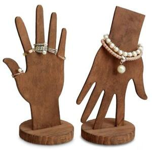 Wooden Bracelet And Ring Display Brown Multi functional Hand Wrist Fingers
