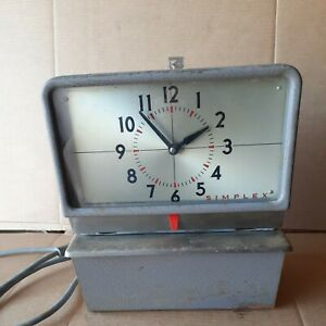 Vintage Simplex Time Clock Punch Card Employee Recorder Kcg 10r4