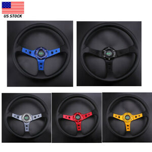 14inch Racing Steering Wheel 350mm Deep Dish 6 Bolt Pu Leather Horn Button Us