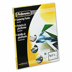 Fellowes 52454 Clear Laminating Pouches 3mm 9 X 11 1 2 100 Pack