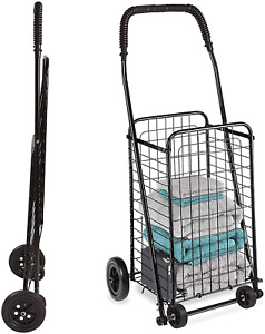 Grocery Utility Shopping Cart Compact And Folding Portable With Wheels 90lbs