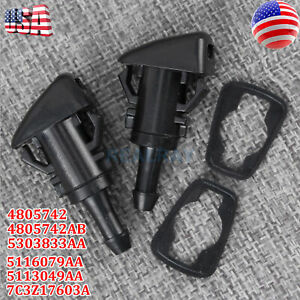 2x Windshield Washer Wiper Water Spray Nozzle For Dodge Charger Chrysler 300 Ram