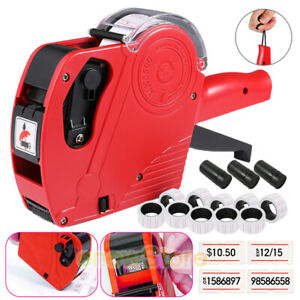 Mx 5500 8 Digits Eos Price Tag Gun 5000 White W Red Lines Sticker Labels 3 Ink