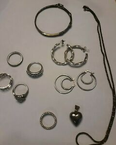 925 Sterling Silver Mixed Jewelry Lot 42 3g Not Scrap