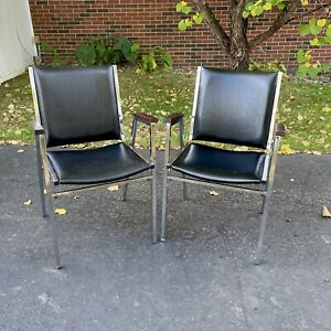 Vtg Mcm Vinyl Chrome Industrial Stacking Office Chairs Set 2 Black Wood Arms