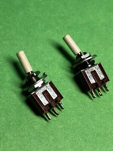 Lot Of 2 Ms 173 176 185 Toggle Switch Spdt On on 3a 125v Ac Made In Japan