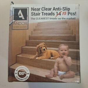 Near Clear Anti slip Stair Treads By Andor Home Goods 15pcs 4x30
